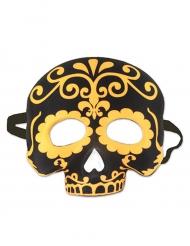 Demi masque tête de mort noir et jaune