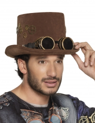 Chapeau haut de forme marron rouages lunettes Steampunk adulte