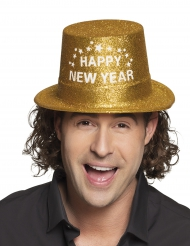 Chapeau haut de forme doré Happy new year adulte