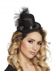 Mini chapeau glamour noir à plumes adulte