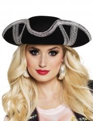 Chapeau pirate bordure argentée adulte