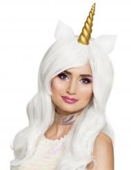 Perruque longue blanche licorne femme