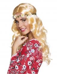 Perruque longue blonde avec bandeau fleurs femme