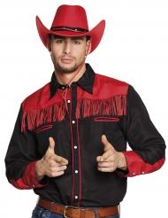 Chemise cowboy noir et rouge à franges adulte