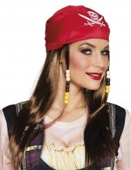 Perruque et bandana rouge pirate femme