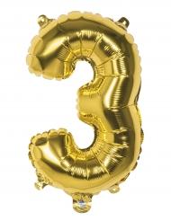 Ballon aluminium chiffre 3 doré 36 cm
