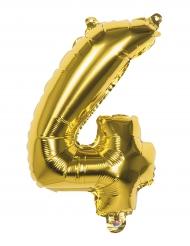 Ballon aluminium chiffre 4 doré 36 cm