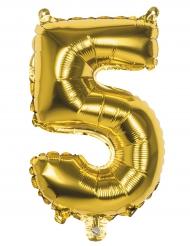Ballon aluminium chiffre 5 doré 36 cm