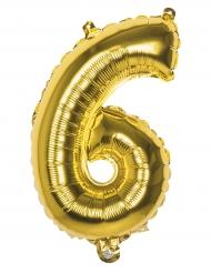 Ballon aluminium chiffre 6 doré 36 cm