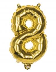 Ballon aluminium chiffre 8 doré 36 cm