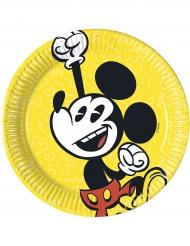 8 Petites assiettes en carton Mickey™ rétro 20 cm