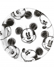 8 Assiettes en carton 23cm Mickey™ rétro noir et blanc