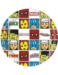 8 Assiettes en carton Avengers™ pop comic 20 cm
