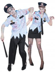 Déguisement de couple agents de police zombie Halloween