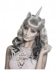 Perruque fantôme licorne argentée femme