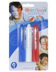 3 Sticks maquillage Bleu, Blanc et Rouge Grim