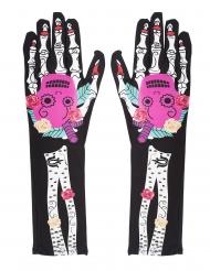 Gants squelette Dia de los muertos colorés femme