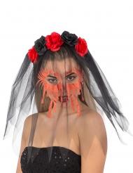 Serre-tête avec roses et voile noir visage ensanglanté femme