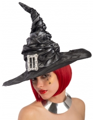 Chapeau sorcière noir avec boucle femme