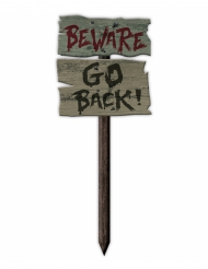 Panneau Beware Go Back 54 x 20cm