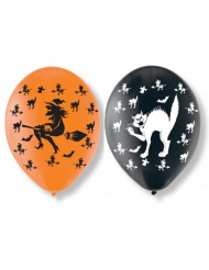 6 Ballons en latex chats et sorcières Halloween