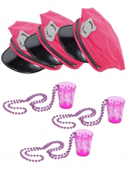 Lot casquettes et verres à shooter rose adulte