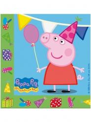 20 Serviettes en papier anniversaire Peppa Pig™ 33 x 33 cm