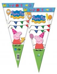 6 Sacs en forme de cône Peppa Pig™ 20 x 40 cm
