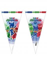 6 Sacs en forme de cône Pyjamasques™ 20 x 40 cm