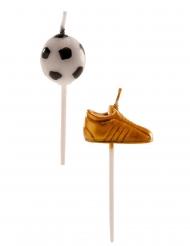 6 Bougies ballons et chaussures de foot 3 à 5 cm