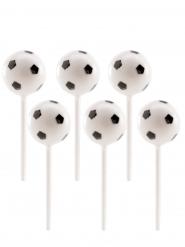 6 Ballons de foot en plastique sur pic 2,3 cm