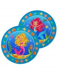 8 Assiettes en carton Sirène bleues 23 cm