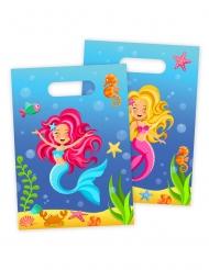 8 Sacs de fête Sirène bleue 18 x 30 cm