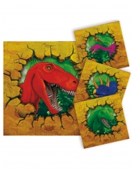 16 Petites serviettes en papier Dinosaures 25 x 25 cm