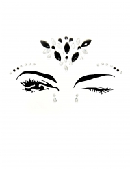 Bijoux pour visage adhésifs noirs et blancs adulte