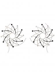 Bijoux pour décolleté et corps motifs noirs et blancs adulte