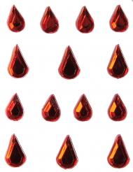 Strass pour visage et corps larmes rouge adulte