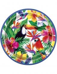 8 Assiettes en carton Palm Tropical Luau 23 cm