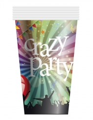6 Gobelets en carton Crazy Party 25 cl