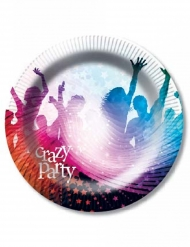 6 Assiettes en carton Crazy Party blanc 23 cm