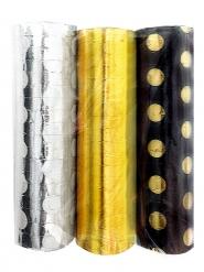 3 Rouleaux de serpentins doré, noir et argent à pois