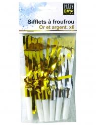 6 Sifflets à froufrou dorés et argentés
