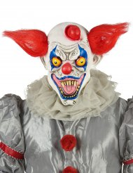 Masque latex clown rouge blanc et bleu adulte