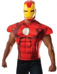Déguisement poitrine musclée avec masque Iron man™ adulte