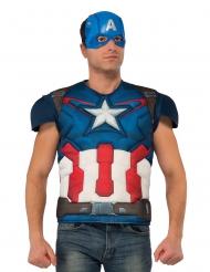Poitrine musclée deluxe avec masque Captain America™ adulte
