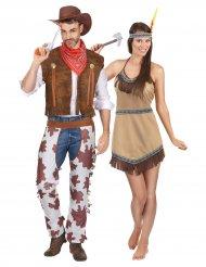 Déguisement de couple cowboy et indienne adulte