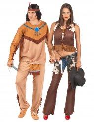 Déguisement de couple indien et cowgirl adulte