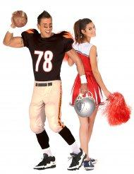 Déguisement de couple pompom girl et footballeur Américain