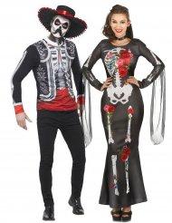 Déguisement couple squelette Dia de los muertos adulte