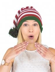 Bonnet en laine elfe rayé adulte